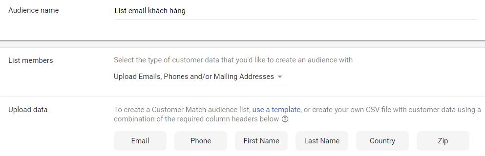 Target theo tệp email khách hàng